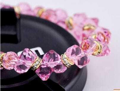 Pink Asymmetric Swarovski Crystal White Gold Inlaid Gemstone Woman Link Bracelet