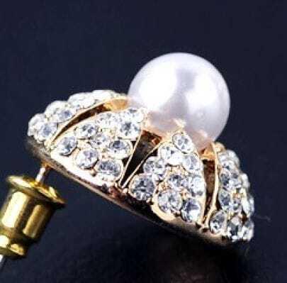 Austrian Diamond On Gilded Round Europe Stud Earrings