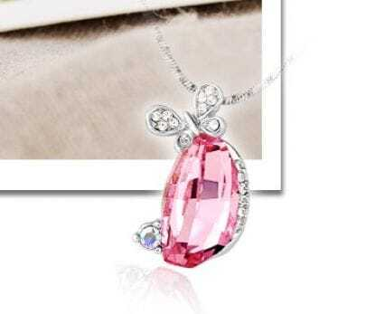 Butterfly With Pink Swarovski Crystal Pendant Silver Necklace