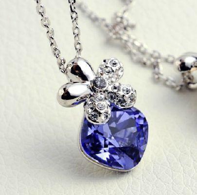 Purple Square Swarovski Crystal Sterling Silver Flower Pendant Necklace