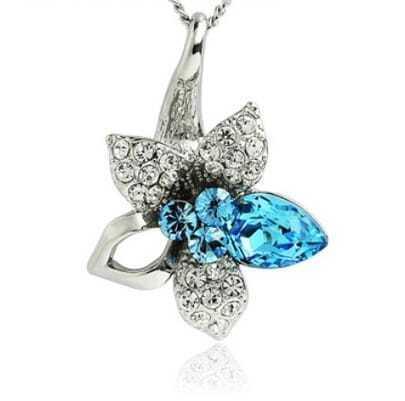 Blue Swarovski Crystal Flower Pendant Sterling Silver Necklace