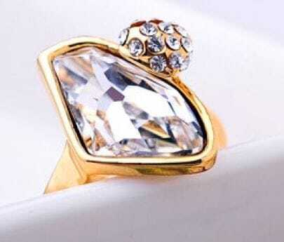 Yellow Teardrop Swarovski Crystal And Wishing Crystal Mosaic Gemstone Woman Ring