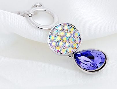Purple Teardrop Swarovski Crystal With Multicolor Diamond Pendant Sterling Silver Necklace