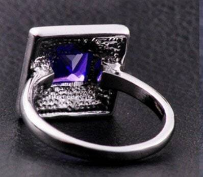 Purple Cube Amethyst Gemstone Gold Plated Woman Ring