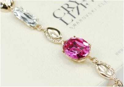Red Oval Austria Swarovski Crystal With Gold Plated Beatles Link Bracelets