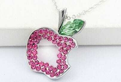 Pink Hollow Apple Green Swarovski Austria Crystal Pendant
