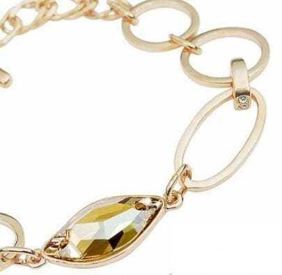 Gold Circle Austria Swarovski Crystal Gold Plated Link Bracelets