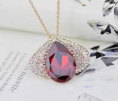Red Wine Teardrop Swarovski Austria Crystal Eye Gilded Pendant