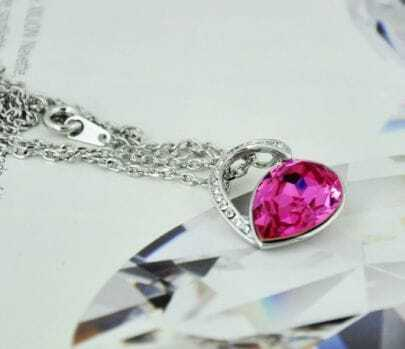 Dark Pink Teardrop Swarovski Austria Crystal Hollow Heart Pendant