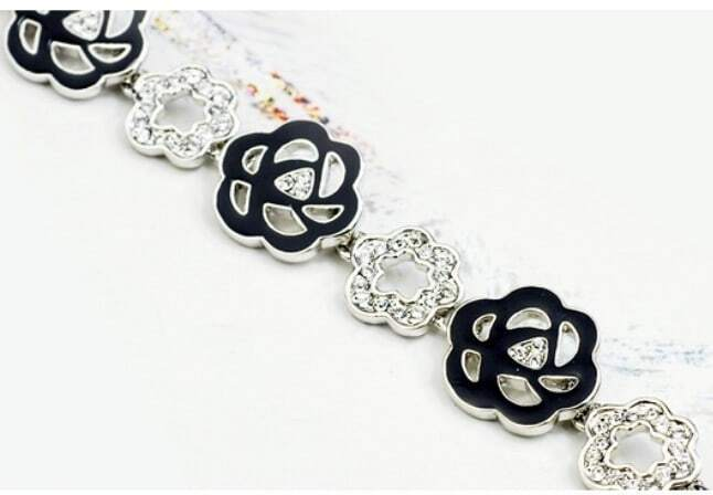 Black Flower Austria Swarovski Crystal White Gold Plated Link Bracelets