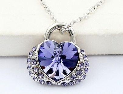 Bag With Purple Heat Swarovski Crystal Pendant
