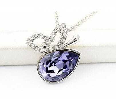 Butterfly With Purple Teardrop Swarovski Crystal Pendant