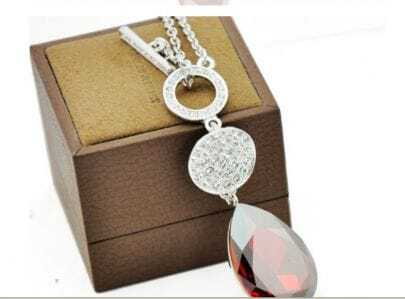 Red Teardrop Austria Swarovski Crystal White Gold Plated Round Pendants