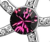 Purple Starfish Austria Swarovski Crystal Pendant Silver Necklace