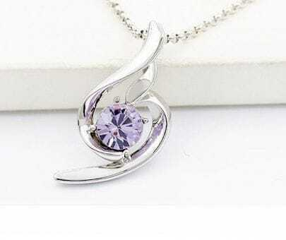 Violet Round Swarovski Crystal Pendant White Gold Plated Necklace