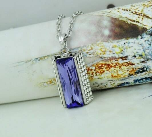 Purple Rectangle Swarovski Austria Crystal Pendant White Gold Plated Necklace