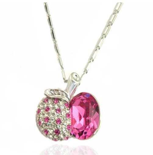 Pink Half-Apple Austria Swarovski Crystal White Gold Plated Bling White Gold Plated Necklace
