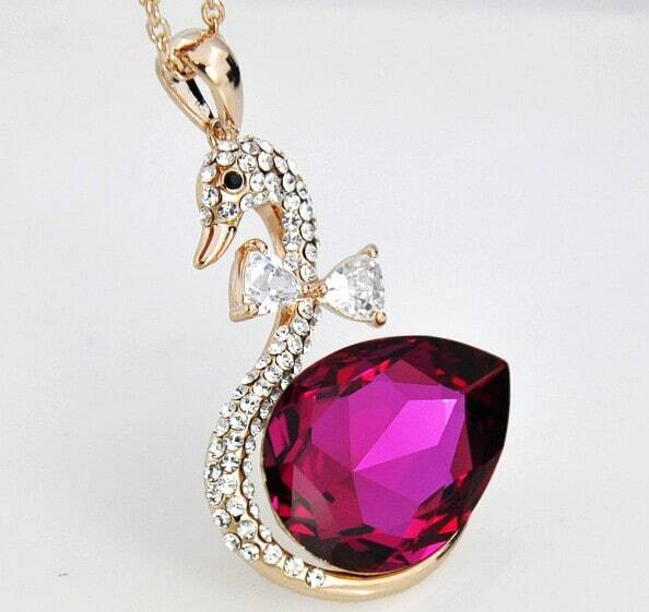 Swan With Rose Red Teardrop Swarovski Crystal Pendant Gilded Necklace