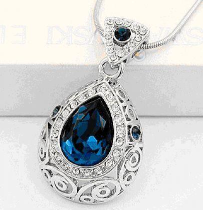 Blue Teardrop Austria Swarovski Crystal Pendant White Gold Plated Necklace