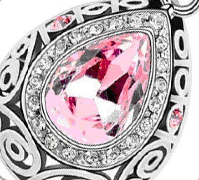 Pink Teardrop Austria Swarovski Crystal Pendant White Gold Plated Necklace