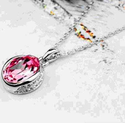 Pink Round Austria Swarovski Crystal Pendant White Gold Plated Necklace
