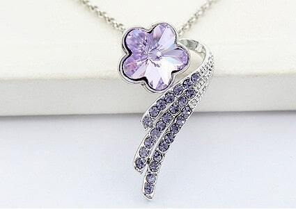 Purple Flower Swarovski Crystal With Diamond Pendant Sterling Silver Necklace