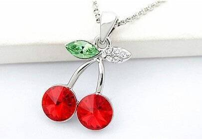 Red Cherry With Green Leaf Swarovski Crystal Pendant Sterling Silver Necklace