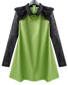 Green Chiffon Cute Dress with Lace Sleeve