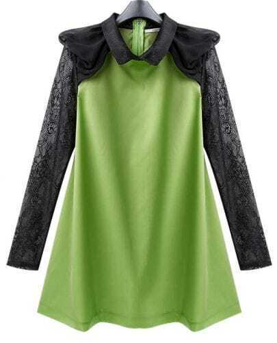 Green Chiffon Cute Dress with Lace Sleeve
