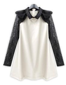 White Chiffon Cute Dress with Lace Sleeve