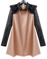 Pink Chiffon Cute Dress with Lace Sleeve