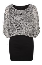 Black and White Zebra Print Chiffon Bodycon Dress