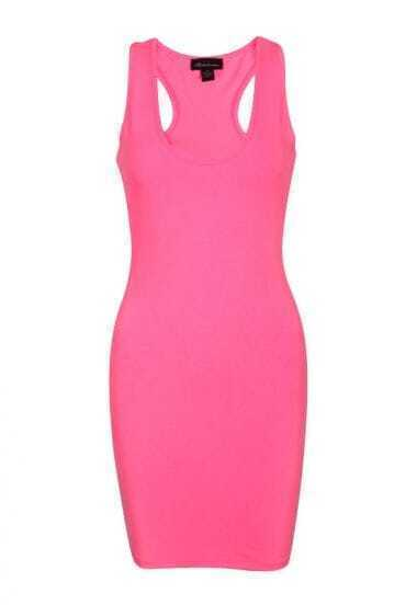 Pink Scoop Neck Tank Sexy Dress
