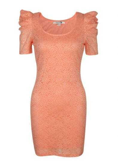 Orange Lace Puff Sleeve Vintage Fitted Dress