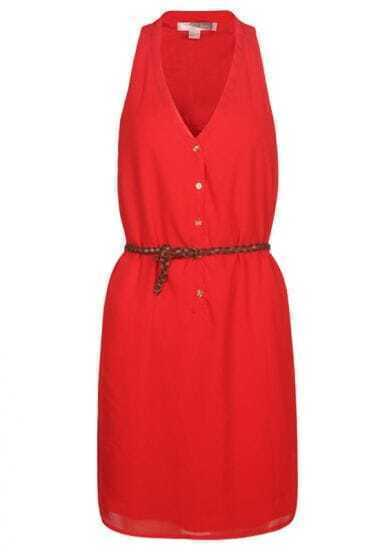 Red Chiffon V Neck Dress with Braided Belt