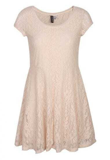 Lace Vintage Short-sleeved Dress Beige
