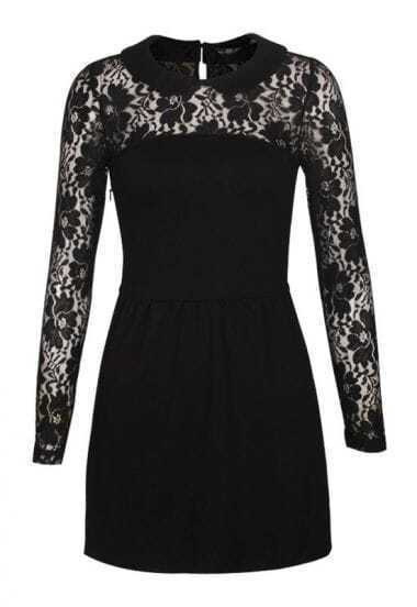 The Semipermeable Lace Stitching Lapel Dress