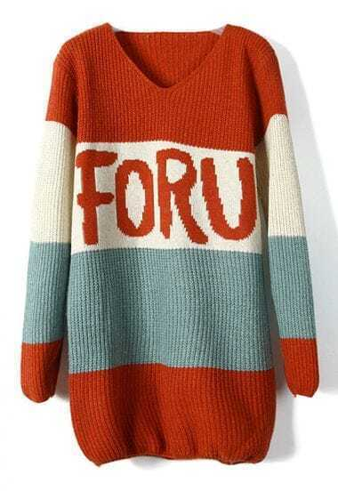 Mixed colors retro stripes letter V-neck loose sweater