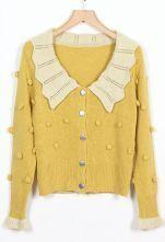 Falbala Collar Yellow Cardigan