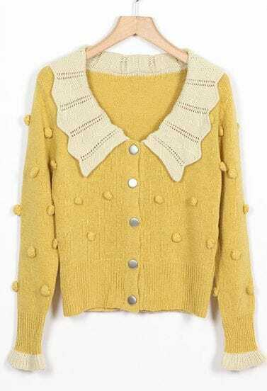 Falbala Collar Yellow Cardigan