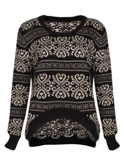 Retro pattern irregular sweater Black