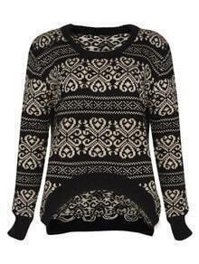Retro pattern irregular sweater Black