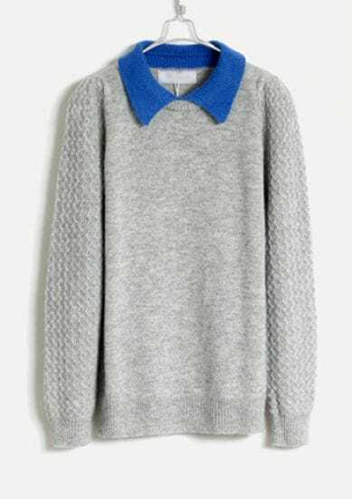 Lapel Angora Soft Sweater Light Grey