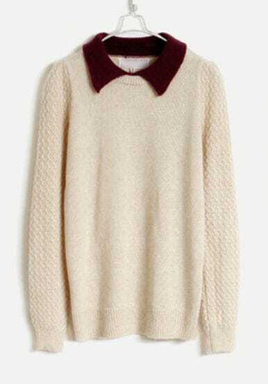 Lapel Angora Soft Sweater Beige