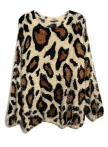 Leopard Mohair Round Neck Pullover Coffee
