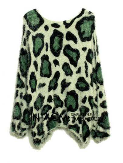 Leopard Mohair Round Neck Pullover Green