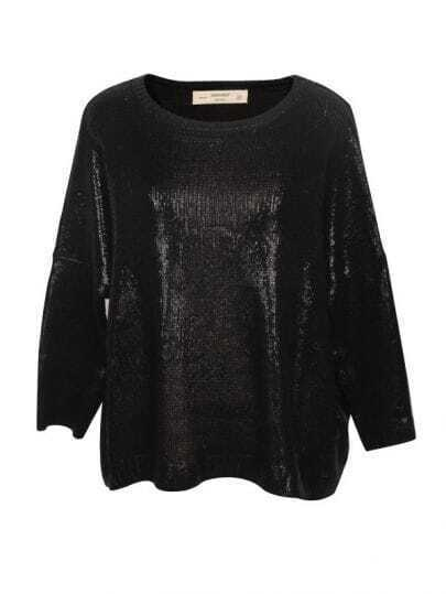 Sequins Shine Loose Sweater Black