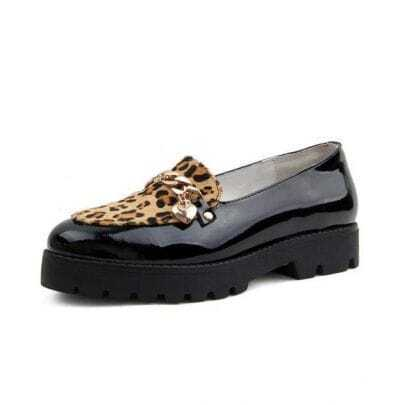 Leopard Patent Leather Flat Shoes