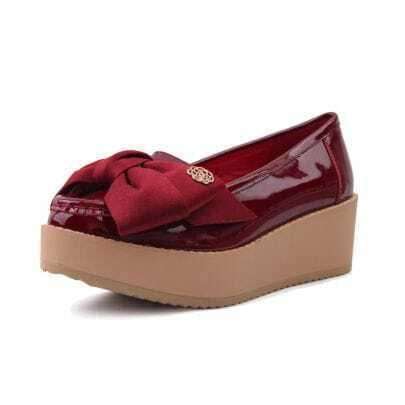 Patent Leather Platform Shoes With Bow Red