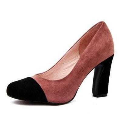 Mix Color Suede Round Toe Pump